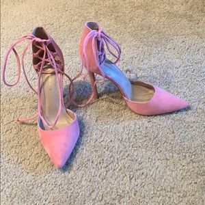 Pink Faux suede lace up heels